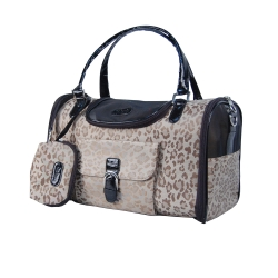 Leopard faux crocodile dog travel bag