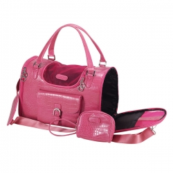 Faux=crocodile dog travel bag hot pink