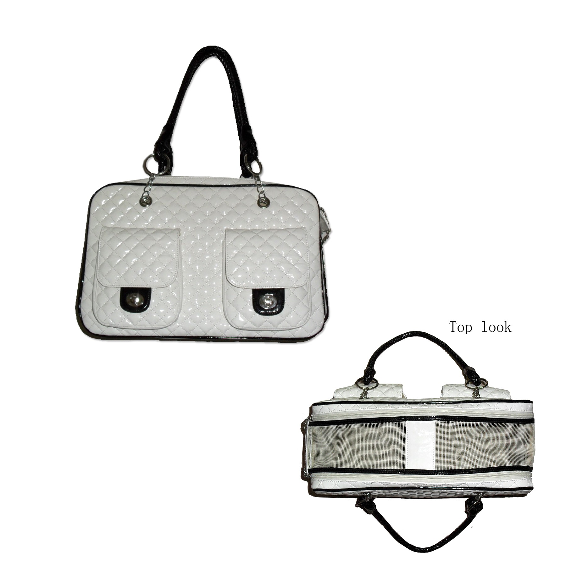 White quilted patent leather dog carrier handbag