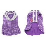 Front and rear views of the purple designer polka dots dog dress