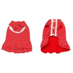Front and rear view of the red polka dots designer dog dress