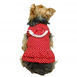 Rear view of the red polka dot dog dress with white lace trims
