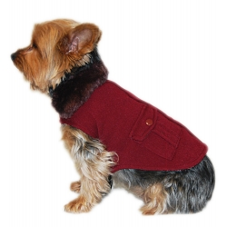 Dog burgundy fur coat