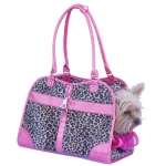 Leopard print dog handbag carrier with crocodile trim Pink