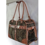 Leopard print dog handbag with beige crocodile trim