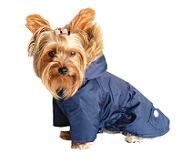 Blue detective dog coat side view