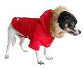 Red detective dog coat w/acrylic fur hood