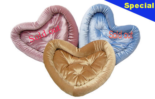 Designer Heart Shaped Dog Bed -pink, blue, brown