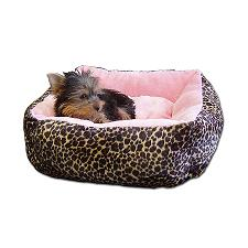 Ultra Plush leopard pink dog bed