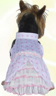 Pink polka dots dog dress
