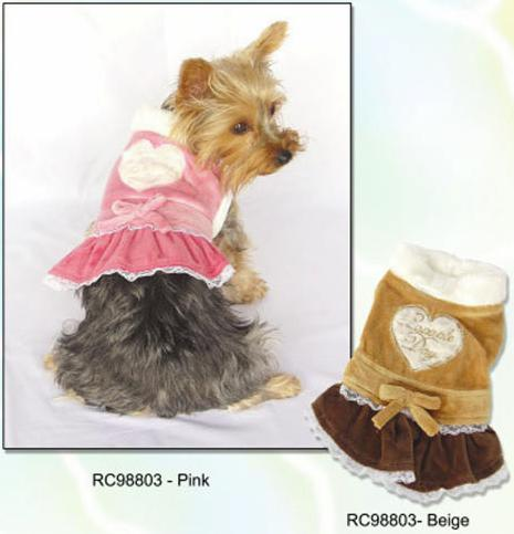 Pink and beige dog skirt dress