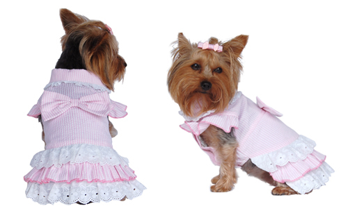 Pink designer dog summer dress