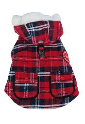 Rear view dog Parka Jacket red