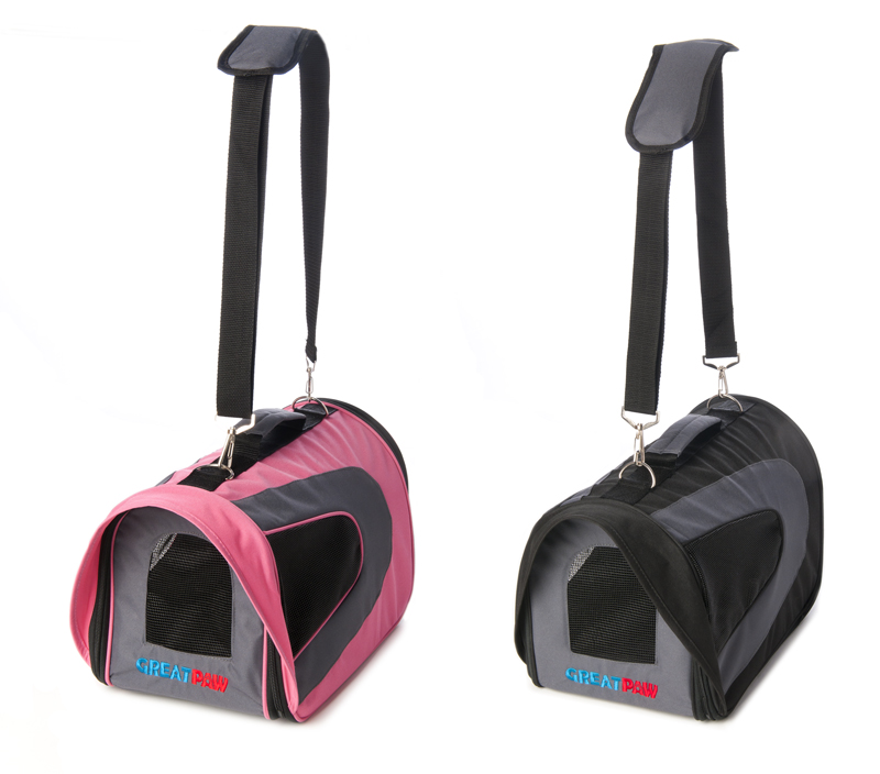 Pink and black soft dog crate carrier with shoulder pad