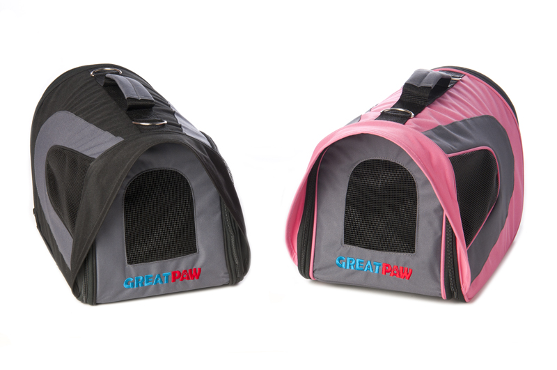 Pink and black Great Paw designer soft dog carrier tote bag