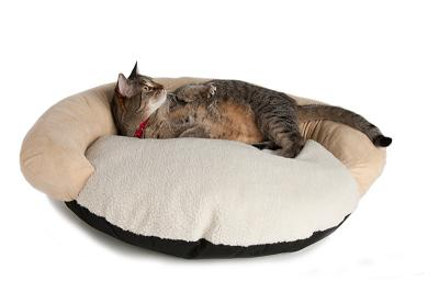 Round bolster cat bed