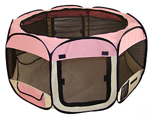 Soft sided pet dog play yard - pink