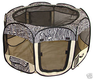 Soft sided pet playyard - zebra