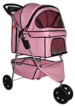 Three wheel classic pet stroller carrier - pink