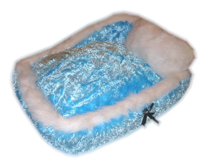 Designer Silky Fluff Dog Bed - Blue