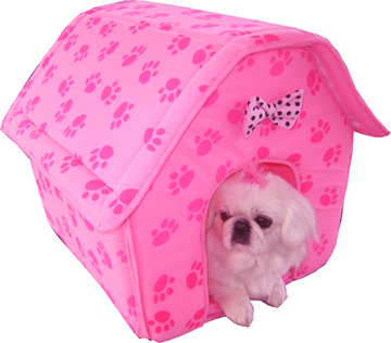 Paw print collapsible doghouse pink (3017)
