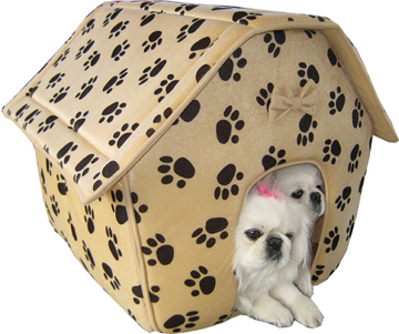 Brown paw print collapsible doghouse (3018)