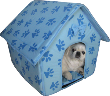 Designer Paw Prints Dog/Cat house blue