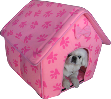 Designer Paw Prints Dog/Cat house pink