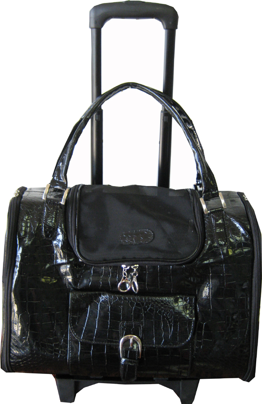 Large faux crocodile pet carrier on wheels
