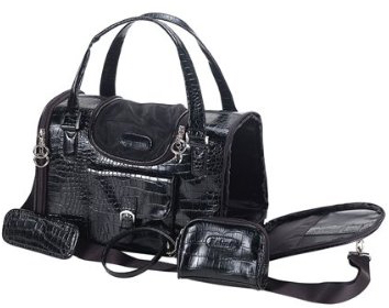 Faux crocodile pet carrier black