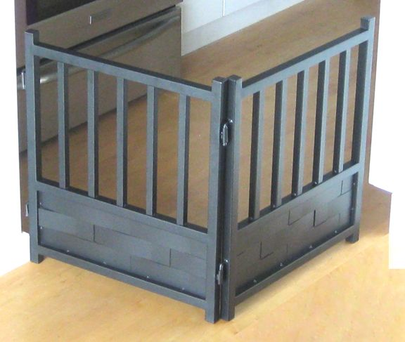 Black stand alone weave metal dog gate