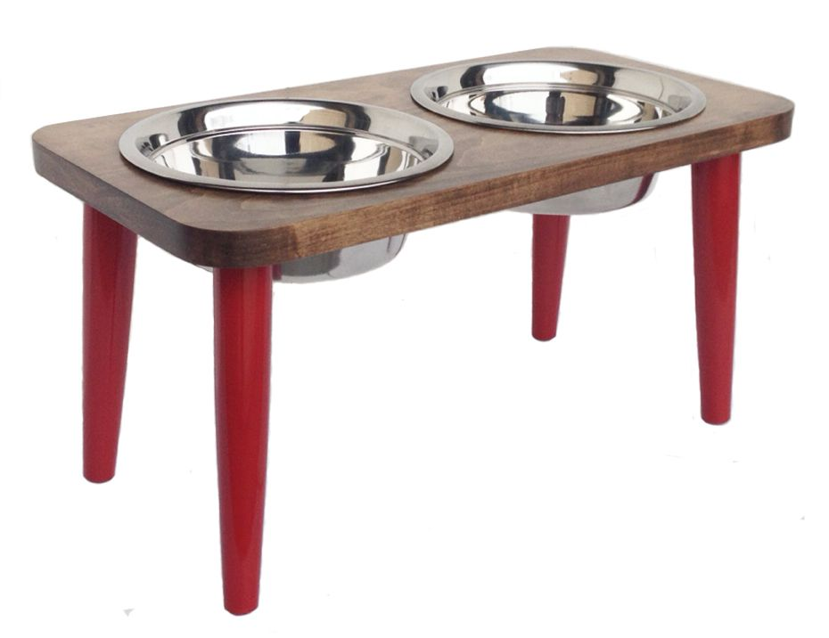 Southern Maple wood double bowl dog feeder with red carved legs