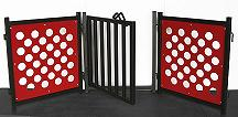 Dog door panel with red polka dog gate