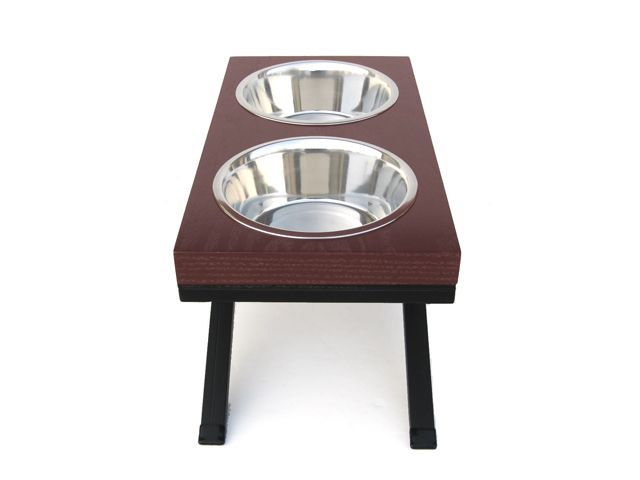 Wooden top dog double diner w/stainless steel bowls -side view