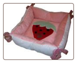 Designer Dog Bed With Strawberry Image