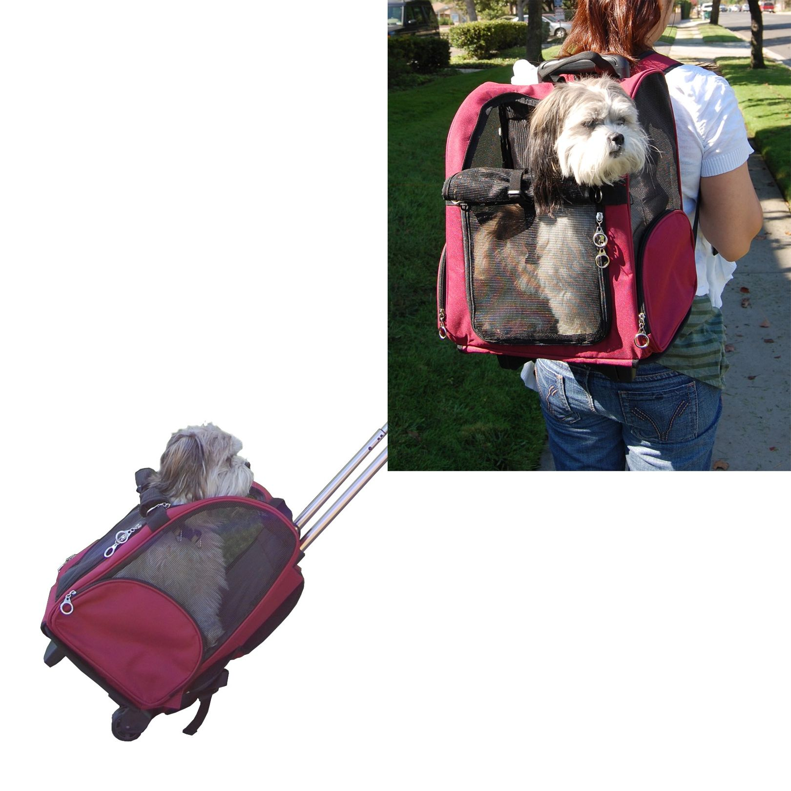 Burgundy Pet Carrier On Wheels