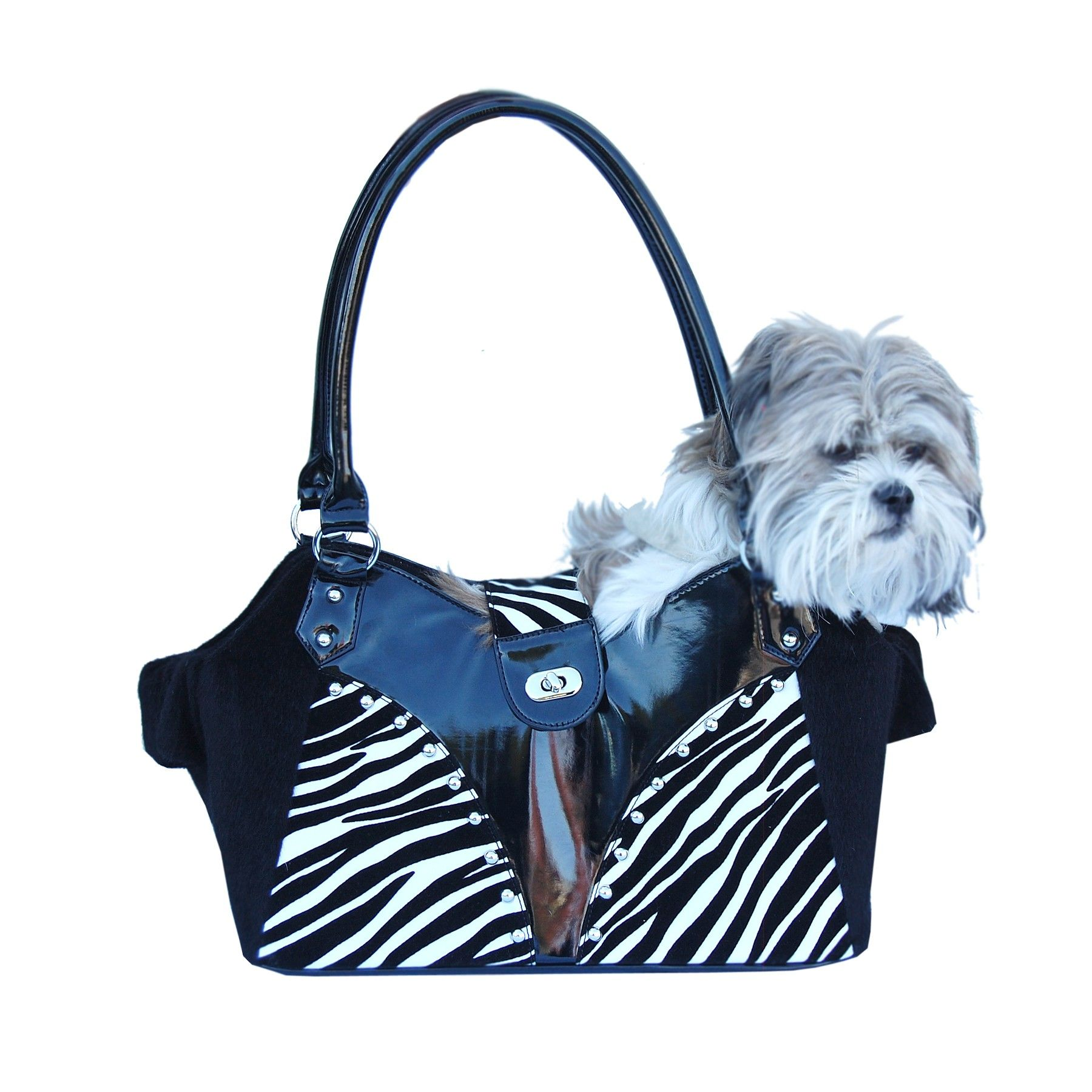 Dual open style dog tote hand bag w/black fur trim