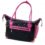 Black quilted faux leather dog bag with pink trim