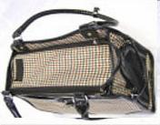 Brown and white houndstooth dog carrier bag