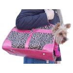 Over the shoulder leopard print dog hand bag with crocodile trim