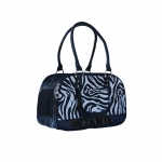 Black zebra print dog carrier bag