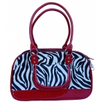 Red trim zebra designer print dog carrier hand bag
