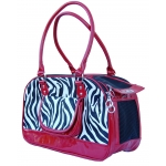 Red trim zebra designer dog carrier