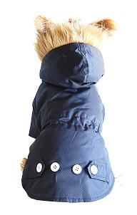 Blue detective dog coat rear view