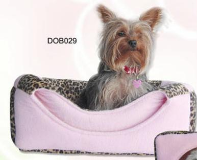Pink leopard print fleece dog bed