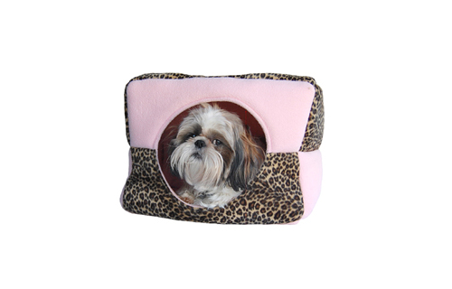 Pink leopard print dog house