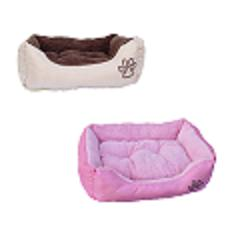 Pink and beige bolster dog bed