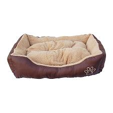 Brown bolster dog bed