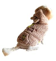 Fluffy bear dog hoodie jacket back view