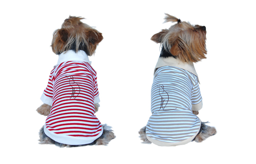 Dog polo t shirt red, beige 2 snap closures